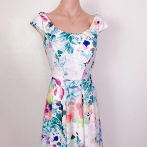 CALVIN KLEIN Floral Watercolor Pastel Spring Dress